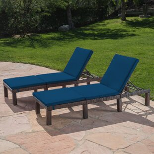 Ebern Designs Rusowicz-Orazem Reclining Chaise Lounge with Cushion (Set of 2)