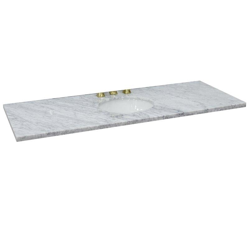 Bellaterra Home 61 Single Bathroom Vanity Top In White With Sink Wayfair