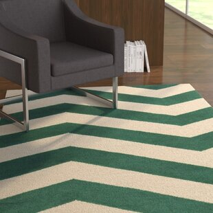 Lowery Juniper & Antique White Zig Zag Area Rug By Ebern Designs