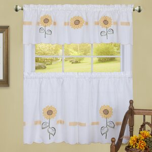 Caddys Sun Blossoms Embellished Tier and Valance Kitchen Curtain Set