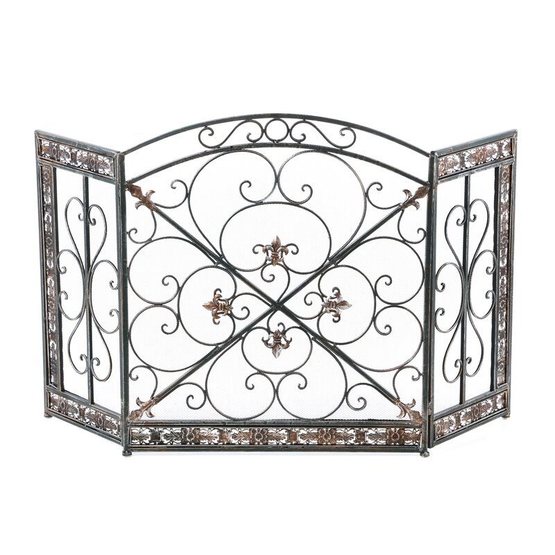 black iron fireplace screen. Fleur De Lis 3 Panel Iron Fireplace Screen Aspire  Reviews Wayfair