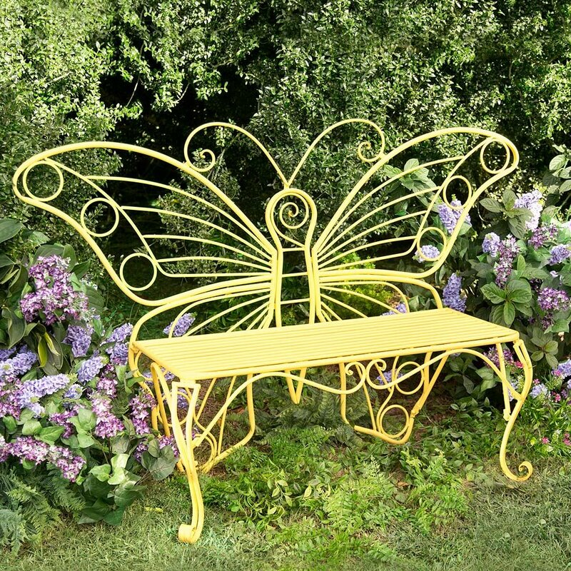 Plow & Hearth Weather-Resistant Butterfly Metal Garden Bench ...