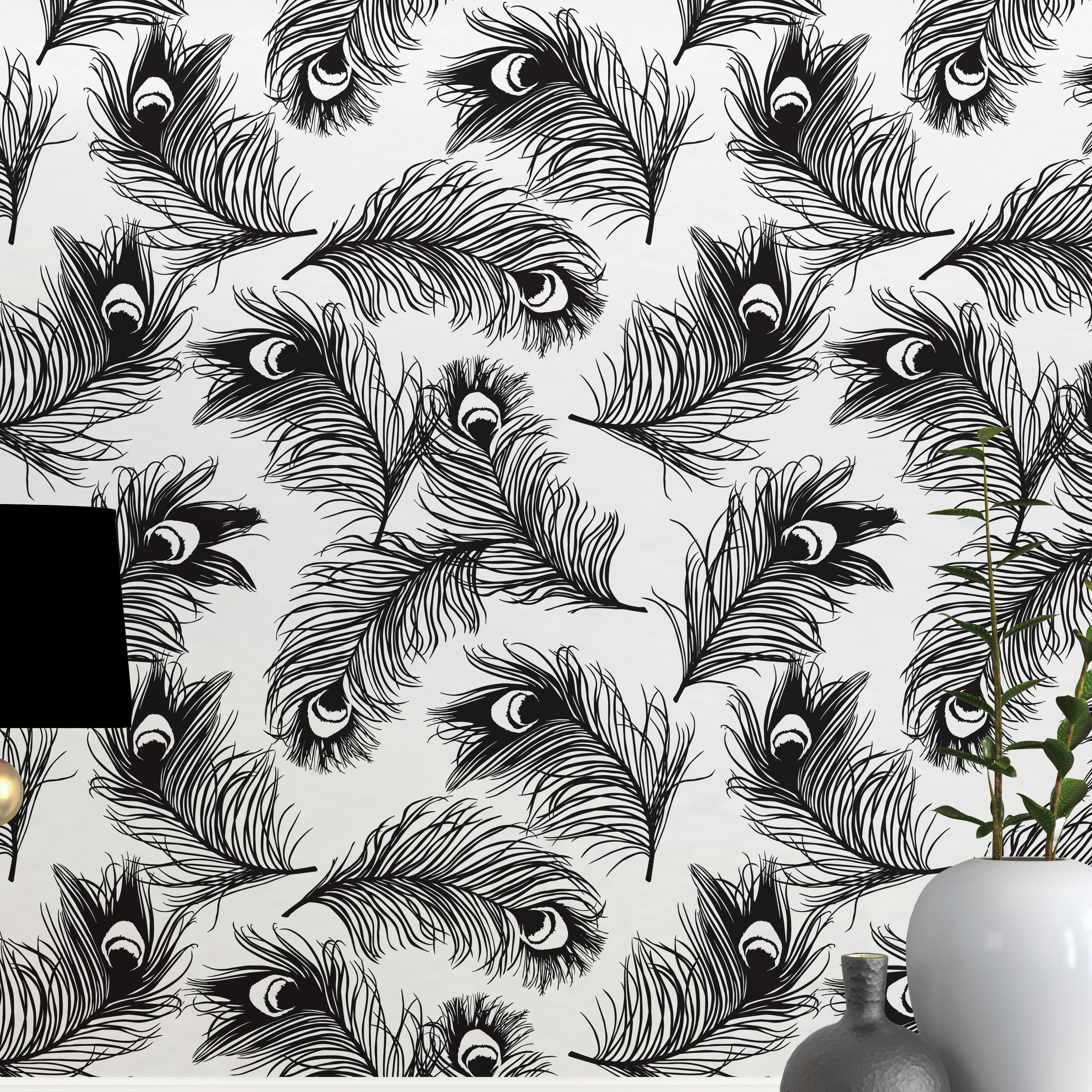 "CosmoLiving by Cosmopolitan Feathers Noir 16.5' L x 20.5"" W Peel and Stick Wallpaper Roll 