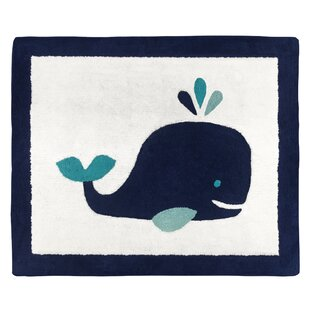 Compare Whale Hand-Tufted Cotton Navy Blue/White Area Rug By Sweet Jojo Designs