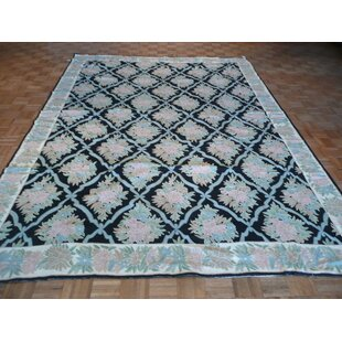 One-of-a-Kind Josephson Hand-Knotted Wool Black Area Rug ByCanora Grey
