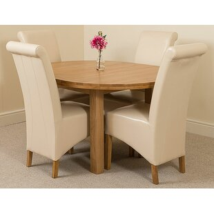 Soejima Solid Oak Dining Set With 4 Montana Chairs By Rosalind Wheeler