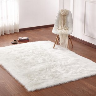 Reviews Latshaw Shag Faux White Area Rug By Everly Quinn