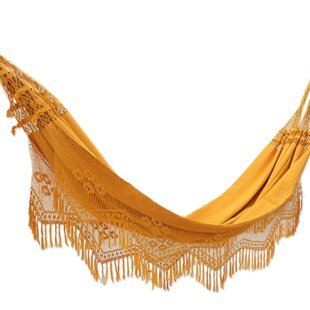 Double Person Fair Trade Summertime Sunsets' Hand-Woven Brazilian Sustainable Cotton with Crocheted Fringes Indoor And Outdoor Hammock by Novica