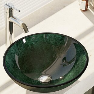 René By Elkay Woodland Glass Circular Vessel Bathroom Sink with Faucet