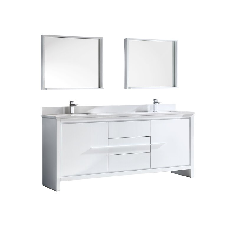 Trieste Allier 72 Double Bathroom Vanity Set With Mirror