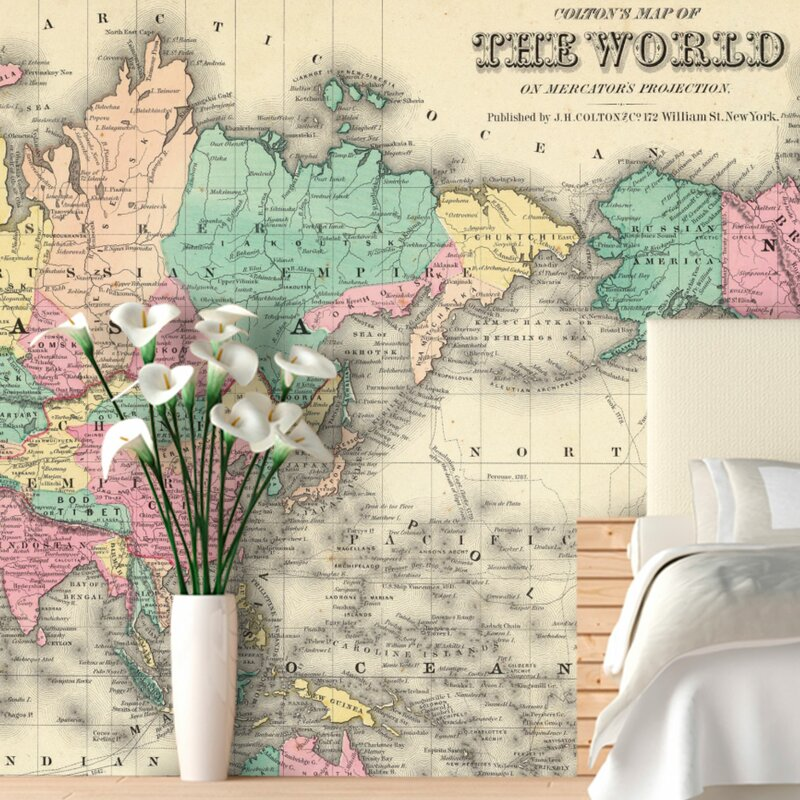 Swag Paper Colorful World Map Wall Mural Reviews Wayfair - Colorful world map