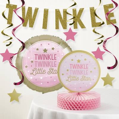One Little Star Girl Birthday Party Decoration Kit