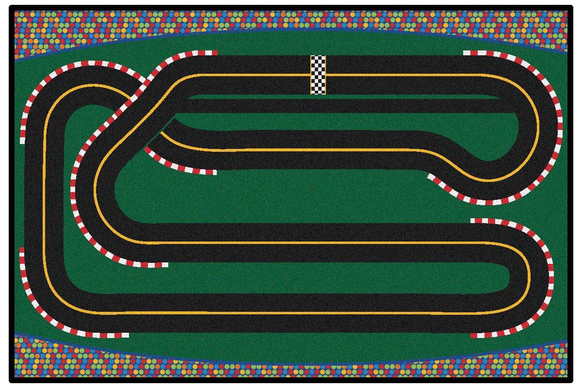 Wonderful Green Super Speedway Racetrack Area Rug