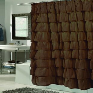 Tan Ruffled Shower Curtain