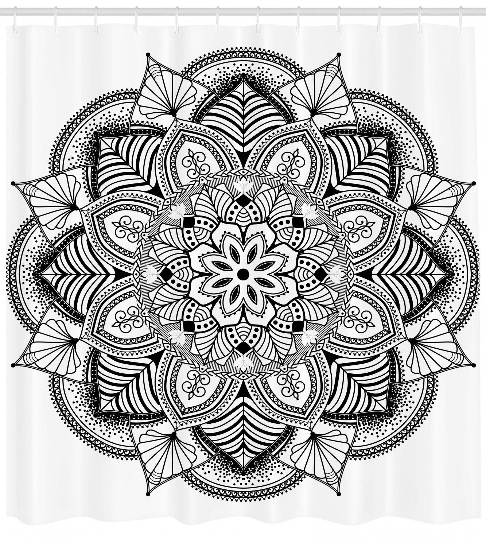 Ebern Designs Barbara Mandala Ringed Ethnic Floral Pattern With Ornate Tile And Lines Boho Circle Home Art Single Shower Curtain Wayfair