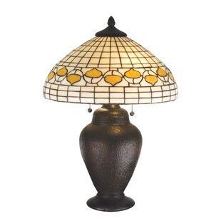 Rustic Lodge Tiffany Acorn 23.5 Table Lamp