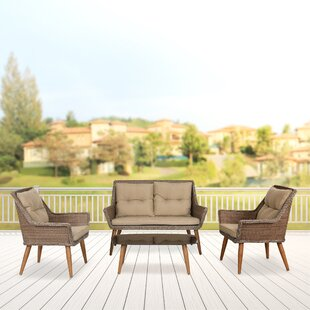 Marylou 4 Piece Rattan Sofa Seating Group with Cushions
