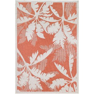 Affordable Tomie Coastal Flora Ivory/Orange Indoor/Outdoor Area Rug By Beachcrest Home
