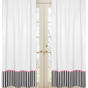 Paris Striped Semi Sheer Rod Pocket Curtain Panels Set Of 2