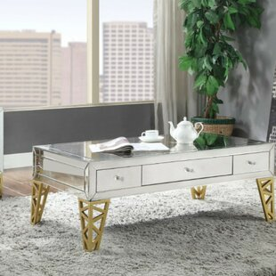 Sanni Modern Rectangular Metal and Mirror Coffee Table with Storage