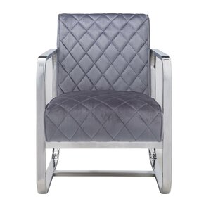 Doan Diamond Grid Patterned Velvet Upholstered Armchair by Mercer41