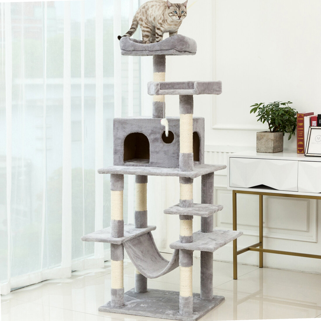 Ballshop Cat Tree Tower Sisal Bed Toys Climbing Scratcher Tower Scratching Post Climber House Cat Play Tower Activity Centre with Sisal Covered Scratching Posts /& Dangling Mice Toys Beige