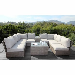 Normandy 10 Piece Rattan Sectional Seating Group with Cushions