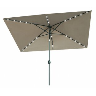 Sansom Solar Powered LED Lighted 10' x 6.5' Rectangular Market Umbrella