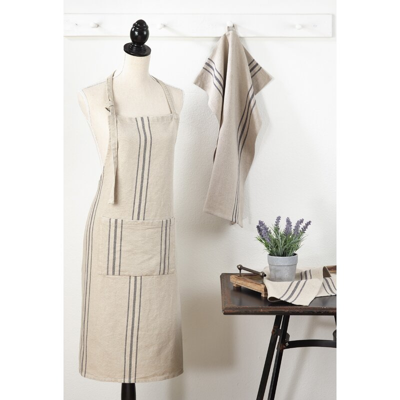 Front Pocket Striped Linen Apron