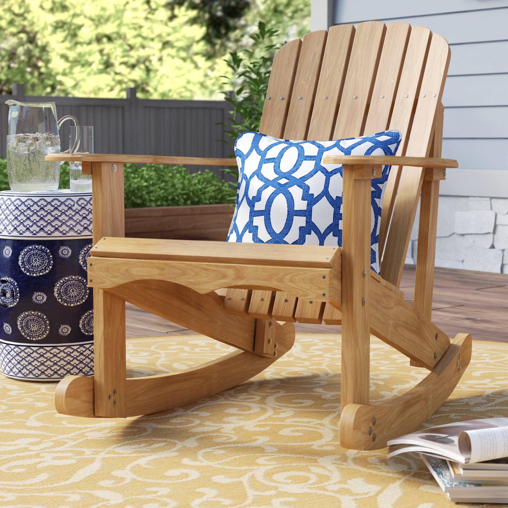 Picture of: Highland Dunes Chartier Solid Wood Rocking Adirondack Chair Reviews