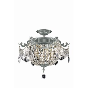 Astoria Grand Ursula Glam 3-Light Semi-Flush Mount