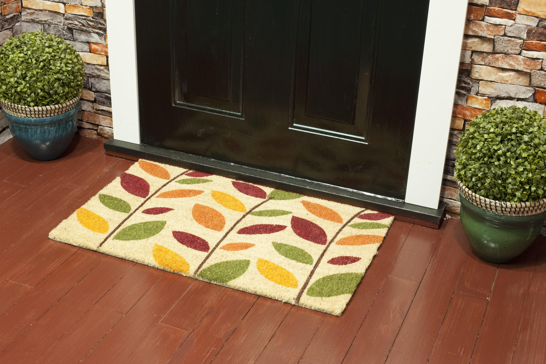 Corrigan Studio Reichenbach Colorful Leaves Pvc 30 X 18 Non Slip Outdoor Door Mat