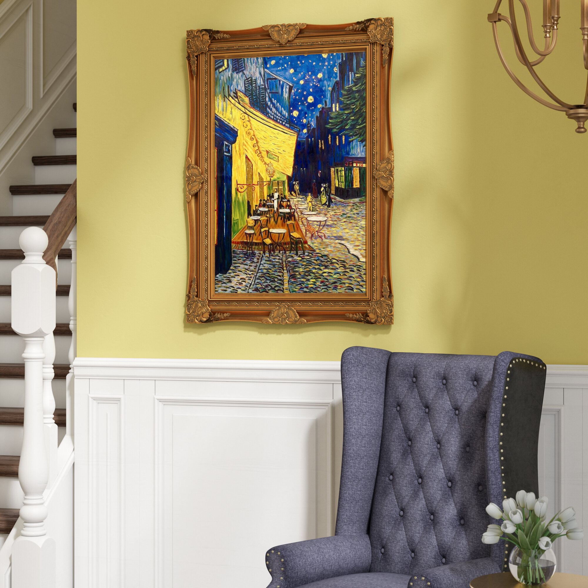 Astoria Grand \'Cafe Terrace at Night Metallic Embellished\' by ...