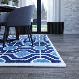 Furey Light Blue/Navy Blue/White Area Rug