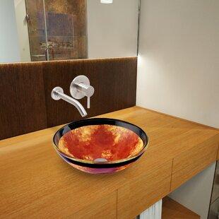 Auburn/Mocha Fusion Glass Circular Vessel Bathroom Sink with Faucet VIGO