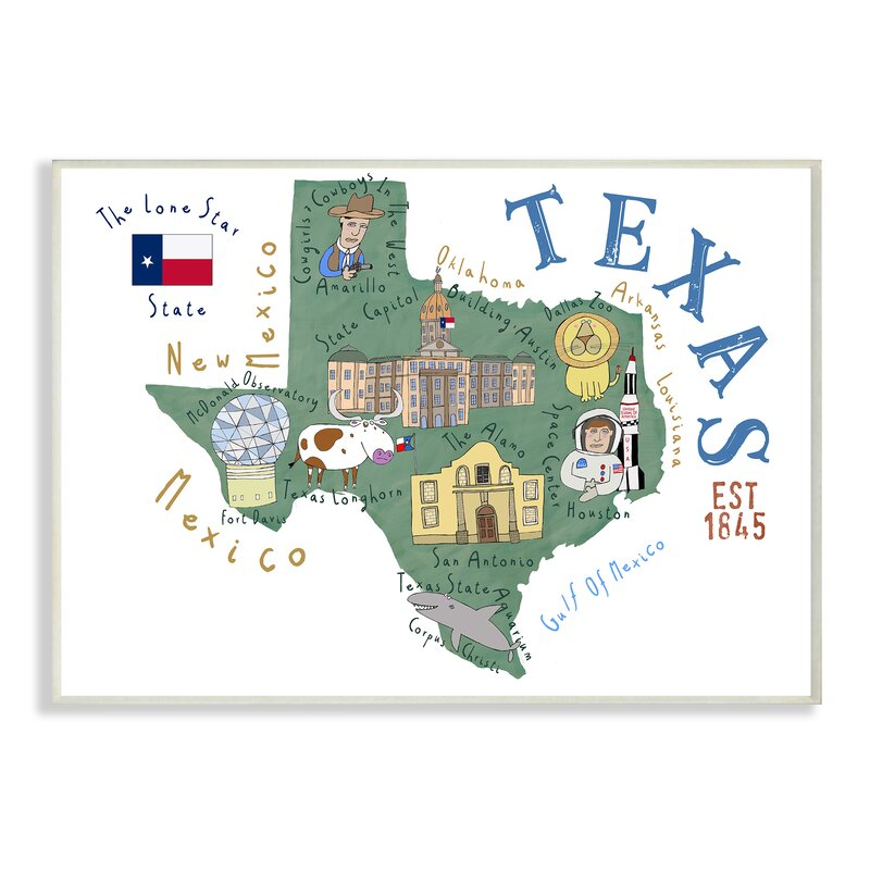 Map Of Texas For Kids Ebern Designs Schmier Texas Landmarks and Flag Illustrated Map