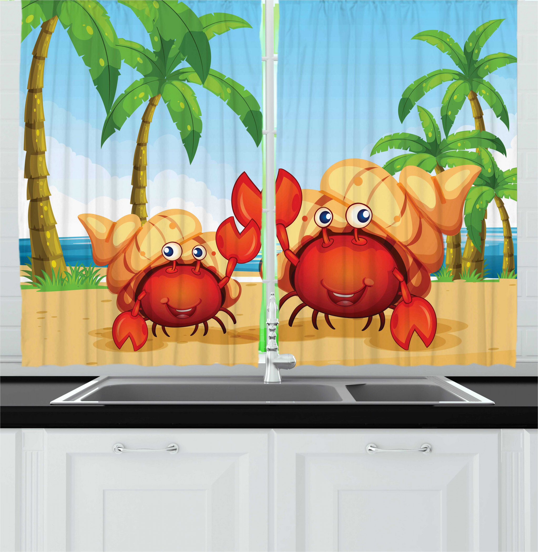 East Urban Home 2 Piece Hermit Crab Smiling Hermit Crabs With A Tropical Setting On The Background Kitchen Curtains Set Wayfair