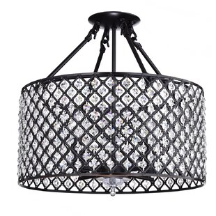 Clemence Crystal Drum 4-Light Semi Flush Mount by House of Hampton