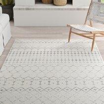 Modern Rug Geometric Contemporary Border Design Thick Living Room Carpet Mat New