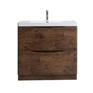 Best Reviews Hatter Rosewood Floor Mount 35 Single Bathroom Vanity Set ByOrren Ellis
