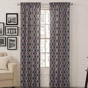 Easy Grab Geometric Room Darkening Rod Pocket Curtain Panels (Set Of 2)