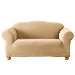 Stretch Pique Box Cushion Loveseat Slipcover