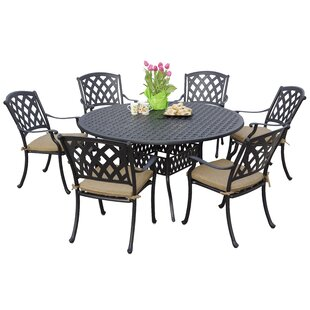 Fleur De Lis Living Campton Contemporary 7 Piece Dining Set with Cushion