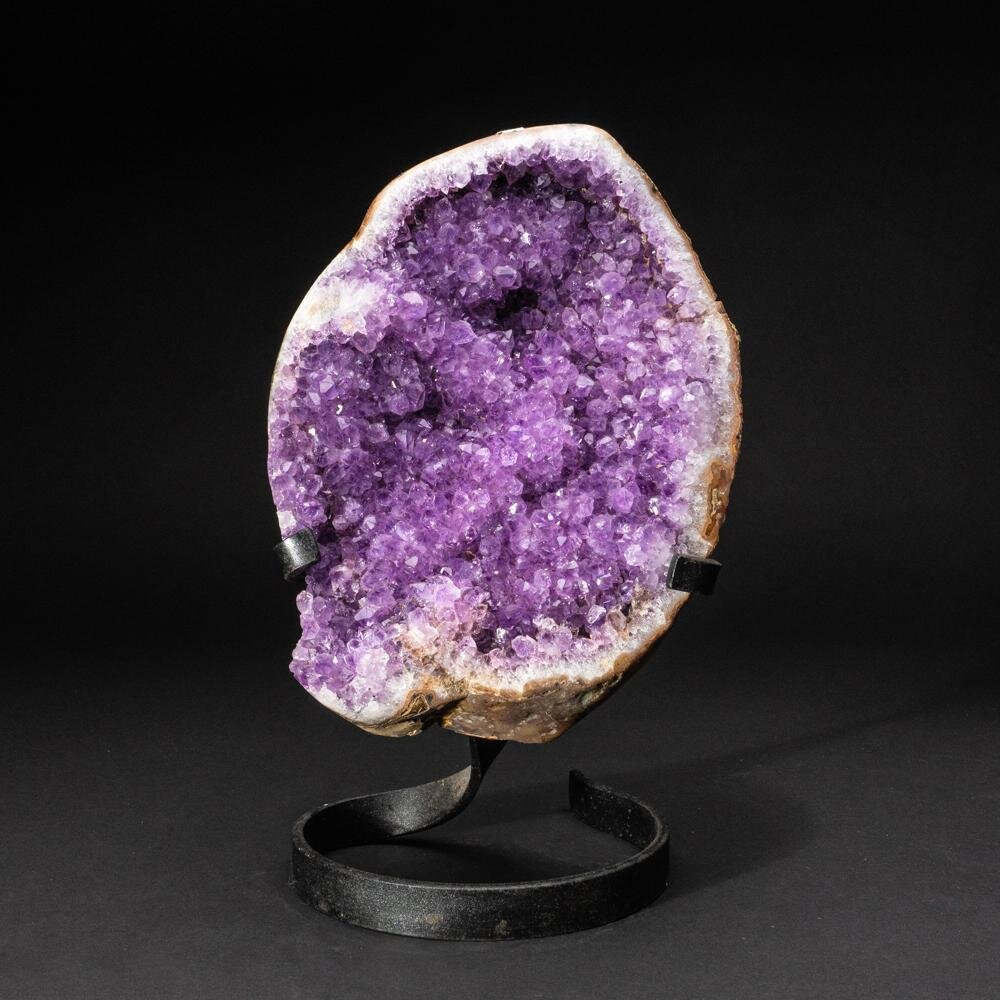 Astro Gallery Of Gems Genuine Amethyst Cluster On Metal Stand Wayfair