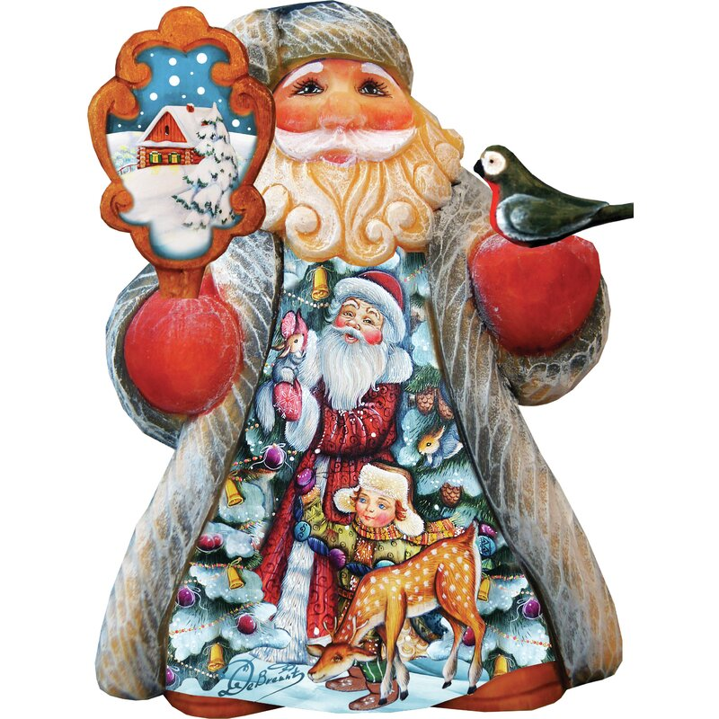 The Holiday Aisle Fifield Santa With Kids Tiny Tale Santa Figurine Derevo Collection Wayfair