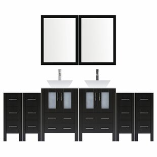 Modern 96 Double Bathroom Vanity Set with Mirror by LessCare