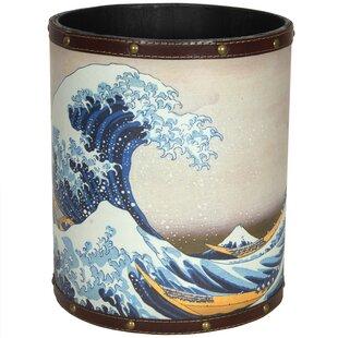 Oriental Furniture Great Wave Off Kanagawa 2.9 Gallon Waste Basket