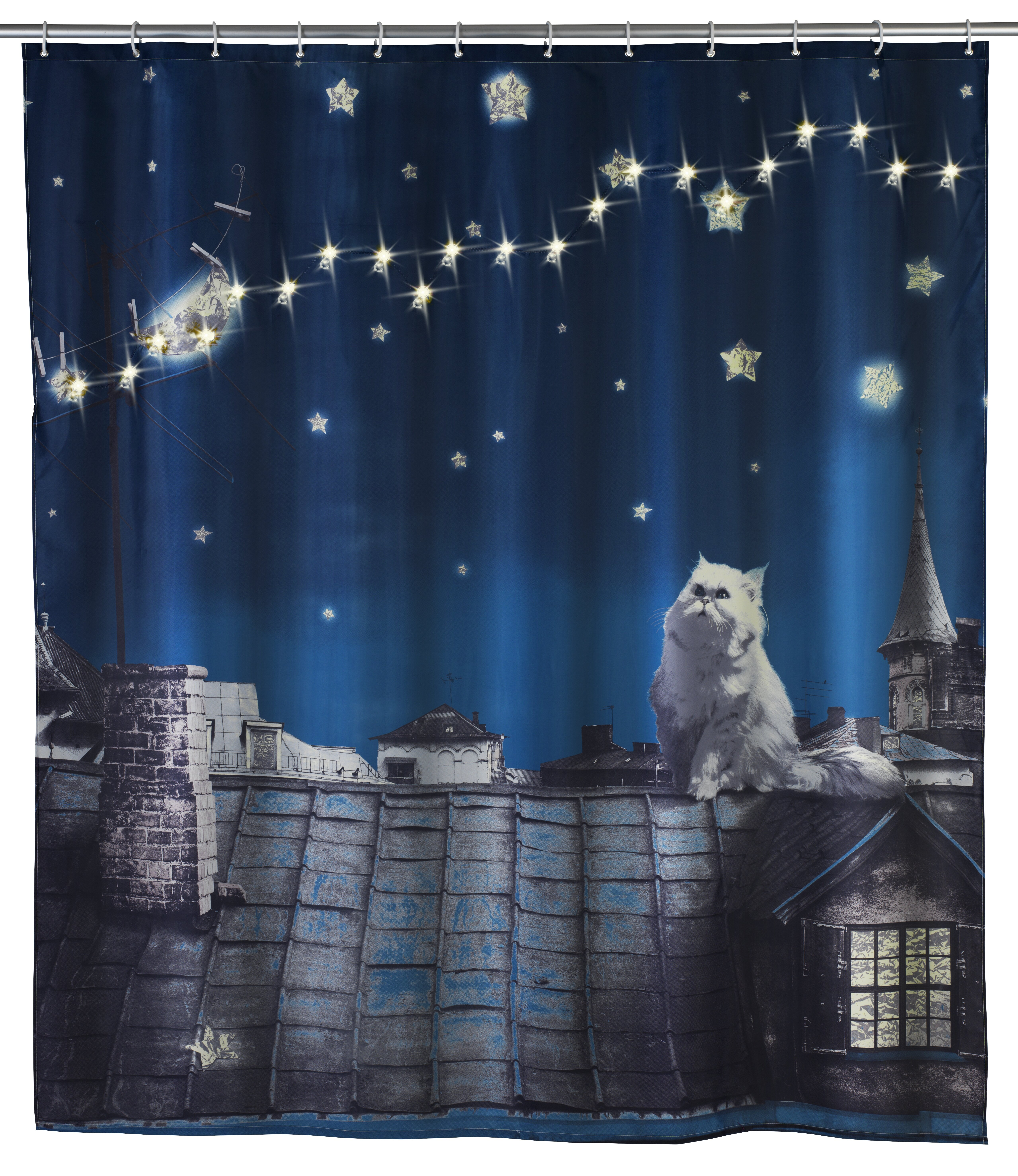 Wenko Inc LED Moon Cat Shower Curtain