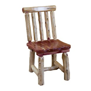 Gorgas Cedar Solid Wood Dining Chair Loon Peak