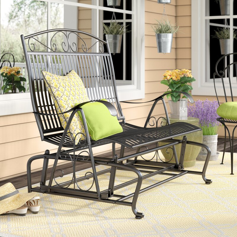 Snowberry Iron Double Patio Glider Bench